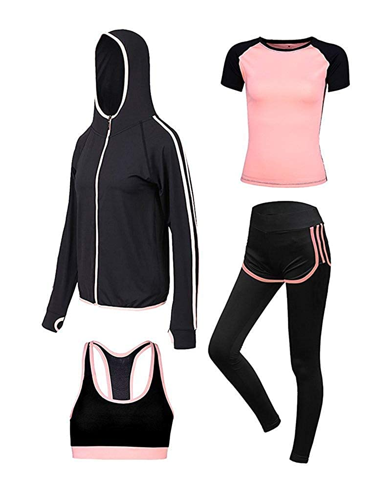 Wjhdeigj Damas 4 piezas Números deportivos Fitness Yoga Running ...