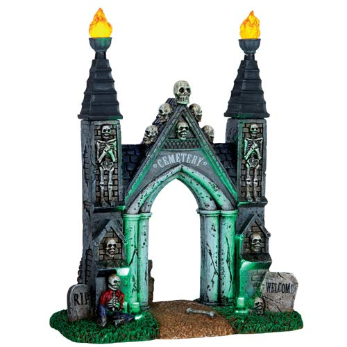 Lemax Spooky Town Cemetery Gate-Battery Operated -
