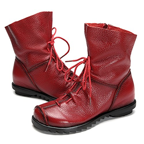 Socofy Fur Lining Soft Women's Handmade Shoes Ankle Boots Lace With Boots Women Red Fashion Zipper Up Flat Leather Oxford rwAcqfH1rR
