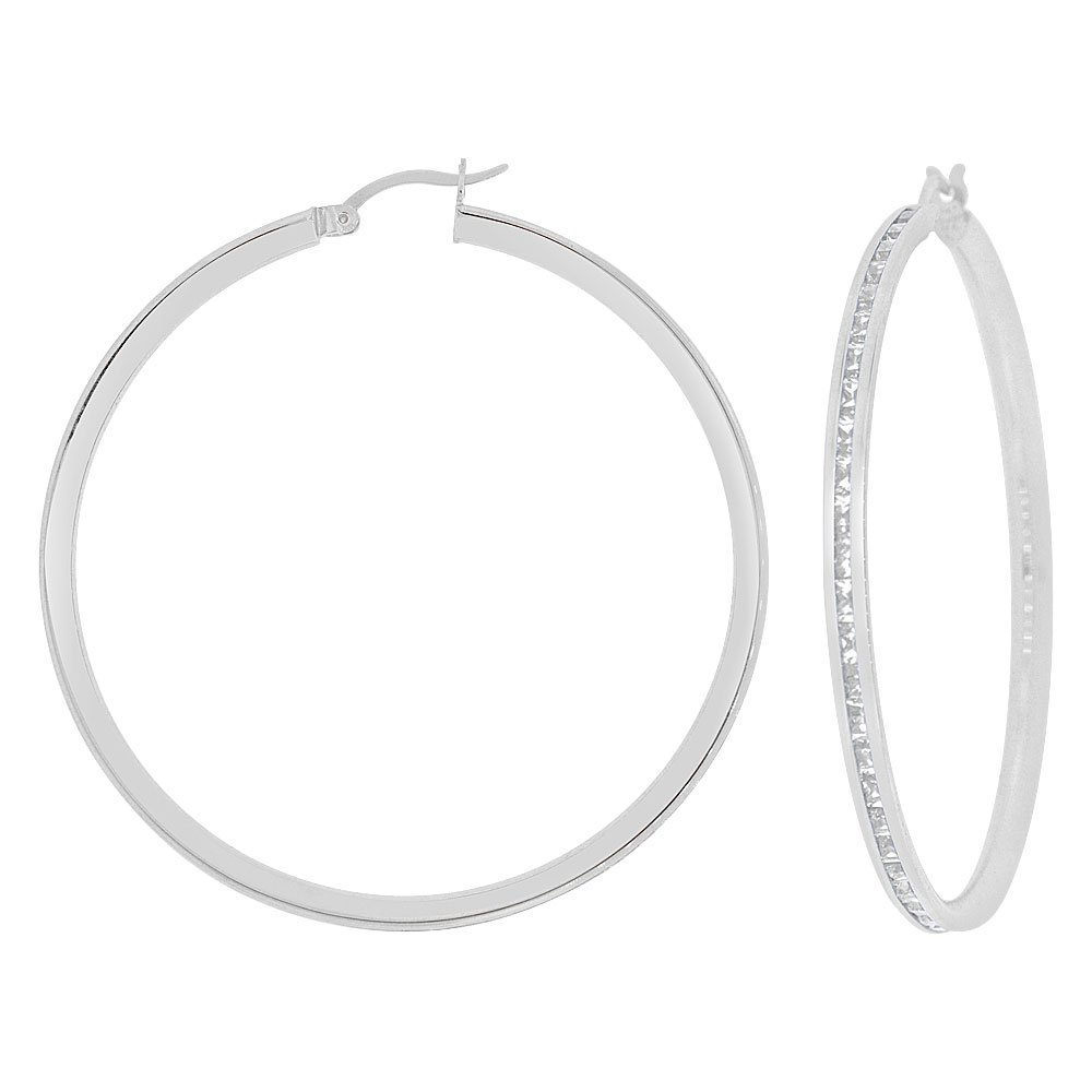 14k Gold White Rhodium, Round 3mm Channel Set Created CZ Earring 45mm Inner Diameter by GiveMeGold