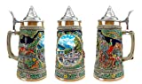 """""""Summer In Germany"""" Essence of Europe Gifts E.H.G. Collectible Ceramic Beer Stein with metal lid (#1 in Collection of Four Steins)"""