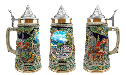 """Summer In Germany"" Essence of Europe Gifts E.H.G. Collectible Ceramic Beer Stein with metal lid (#1 in Collection of Four Steins)"