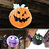 DeemoShop Halloween Decoration Hanging Paper Pumpkin Bat Ghost Lanterns Halloween Horror Props Animated Scary Halloween Party Decorations