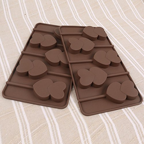 Silicone Heart Mold - 1 Piece Chocolate Mould Heart to Heart Shape Mold Silicone Biscuit Candy Lollipop DIY Tools