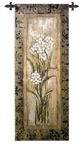 Paperwhite I by Mindeli - Woven Tapestry Wall Art Hanging - White Blooms Narcissus Bulbs Earth Tones Abstract Design - 100% Cotton - USA ()