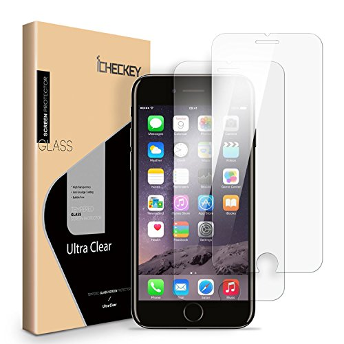 2-PACK iPhone 8 Plus/7 Plus/6s Plus/6 Plus Screen Protector, ICHECKEY 2.5D Premium HD Clear Tempered Glass Screen Protector Cover for Apple iPhone 8/7/6s/6 Plus - Iphone 6 Anti Break Screen