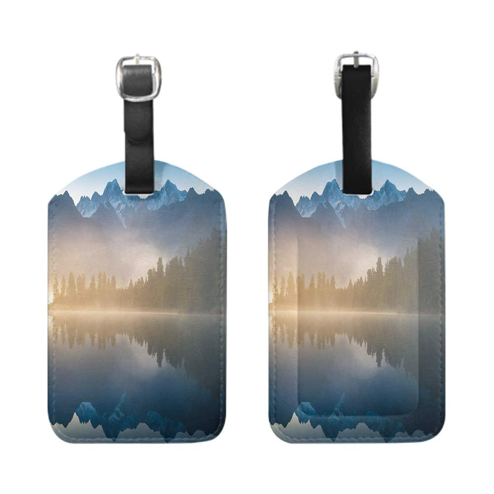 bescribe Stylish Patterned Private Luggage Tag Mount Cook in Lake Matheson New Zealand-2-Piece leather name ID tag with privacy cover
