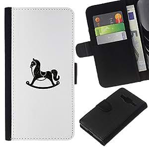 KLONGSHOP // Tirón de la caja Cartera de cuero con ranuras para tarjetas - Rocking Horse - Samsung Galaxy Core Prime //