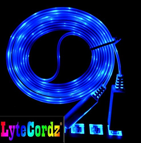 LED Light Up Glowing iPhone 5 6 7 8 X Lightning USB Charging Data Cord 6 Foot 6 Feet(Blue) Glowing Usb