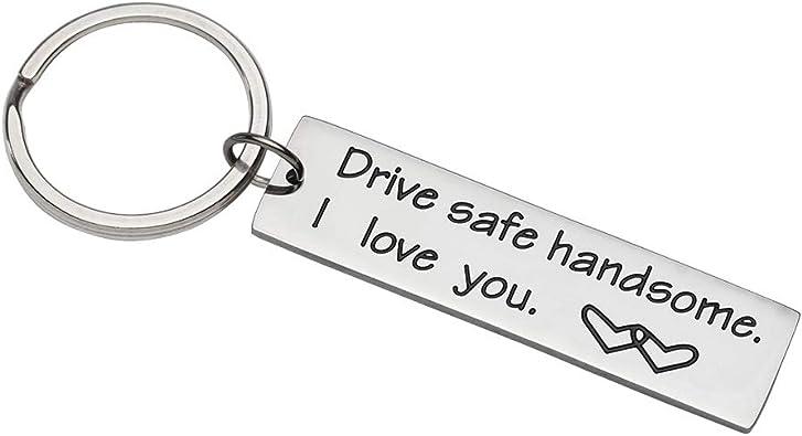 Drive Safe Personalized Keychain Couples Boyfriend Keyring Dad Fathers Jewelry