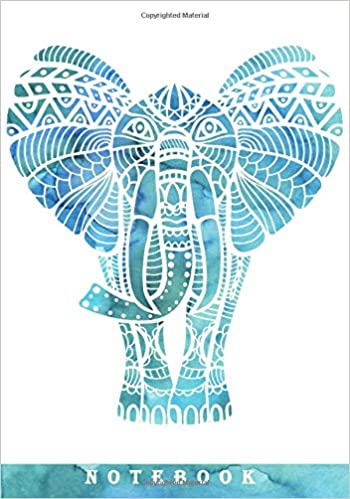 Watercolor Elephant Notebook Ruled Notebookjournal 7x10 With