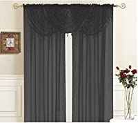 """Kashi Home Lisa Valance Collection Window Accent Valance 36"""" x 35"""" Lightweight Solid Sheer Style with Fringed Design in Black - Single Valance, Rod"""