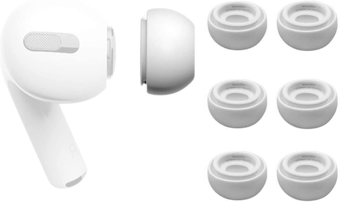 Replacement Earbuds Tips Compatible for Apple Pro Anti Slip Soft Silicone Eartips for Apple Headphone 3 Pairs Medium White