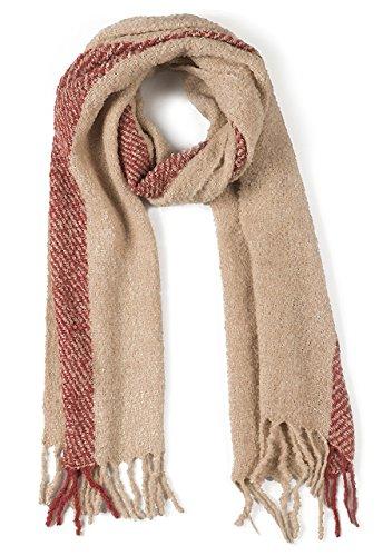 - Single Stripe Nubby Rustic Weave Baby Alpaca & Silk Boucle Scarf - Unisex (Brick/Ecru)