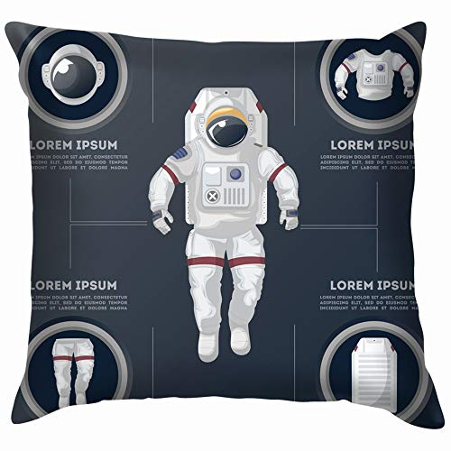 (Details Modern Space Suit Infographics Spaceman Technology Astronaut Funny Square Throw Pillow Cases Cushion Cover for Bedroom Living Room Decorative 20X20)