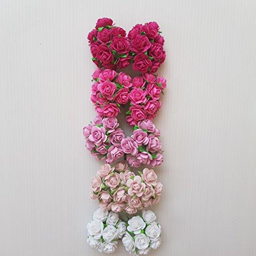 DOWDEGDEE 100 pcs Handmade Mulberry Paper Rose Flower 1.5 cm Craft Scrapbooking Scrapbook Bow Wedding Doll House Supplies Card 5 Colors Mixed Pink Tone ()