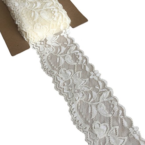 (Lace Realm 2″×10 Yards Stretch Floral Pattern Lace Ribbon Trim Lace for Headbands Garters Decorating Floral Designing & Crafts(Ivory))