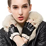 Nappaglo Women's Fingerless Leather Gloves Nappa Leather Half Finger Fitness Outdoor Driving Motorcycle Gloves (M (Palm Girth:7