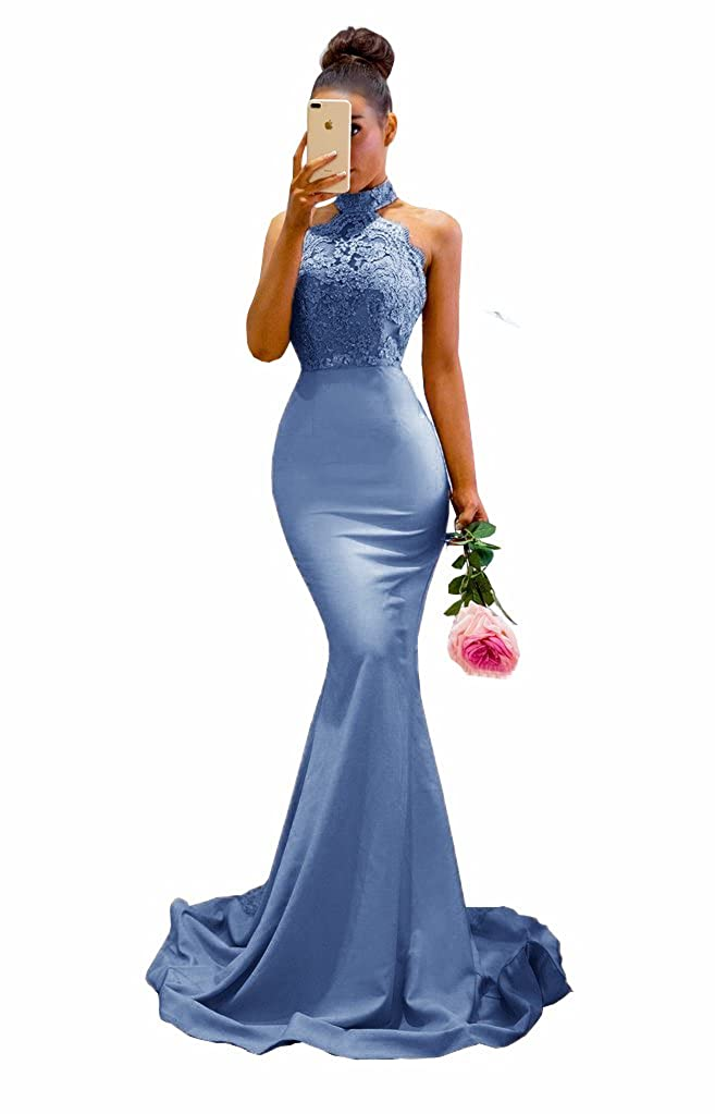 Evening bluee MariRobe Womens Halter Neck Mermaid Appliques Lace Long Bridesmaid Dress Formal
