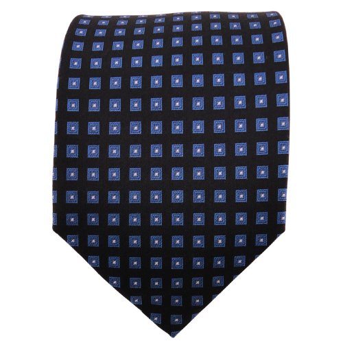 TigerTie cravate en soie bleu noir argent à carreaux cravate pure soie