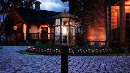Luxury Craftsman Outdoor Post Light, Medium Size: 17.25''H x 10''W, with Tudor Style Elements, Wrought Iron Design, Natural Black Finish and Seeded Glass, UQL1046 by Urban Ambiance by Urban Ambiance (Image #1)