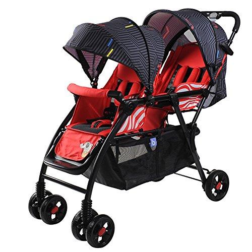 HAIZHEN マウンテンバイク ダブルプッシュチェアツインベビーベビーカーリクライニング折りたたみ式ダブルトロリーベビーキャリッジに座ることができます軽量 新生児 B07C87SYHH 赤 赤