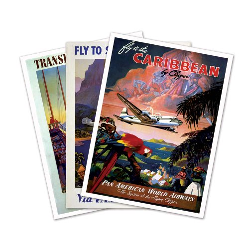 SET of THREE (3) Tropical PAN AMERICAN World Airways Prints - each measures 18