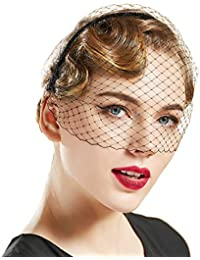 1920s Flapper Fascinator Mesh Veil Headband Bridal Wedding Tea Party Fascinator Veil for Women