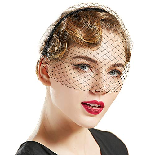 BABEYOND Bridal Wedding Veil Fascinator Mesh Lace Veil Headband for Women Girls Vintage Fascinator with Veil for Tea Party Halloween Costume (Black)