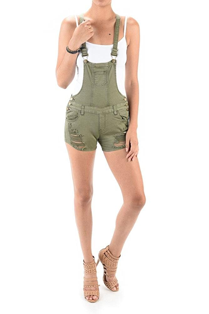 American Bazi G-Style USA Women's Ripped Denim Overall Shorts