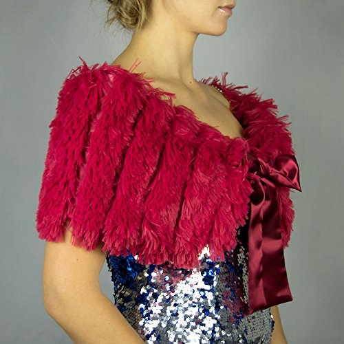 9faed2d1f168 Faux fur wrap shrug stole bordeaux burgundy raspberry: Amazon.co.uk:  Handmade