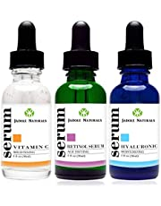 Jadole Naturals Anti Aging Set with Vitamin C Retinol and Hyaluronic Acid Serum for Anti Wrinkle and Dark Circle Remover All Natural and Moisturizing - 2724615259735