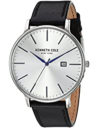 Men's 'Classic' Quartz Stainless Steel and Leather Dress Watch, Color Black (Model: KC15059006)