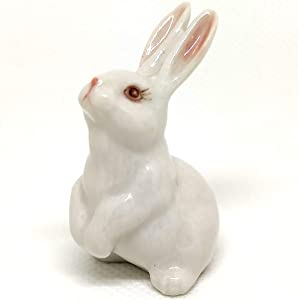 SSJSHOP Rabbit Miniature Figurines Hand Painted Ceramic Animals Collectible Gift Home Decor, White