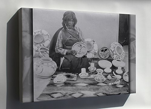 Nampeyo Hopi Pottery - Canvas 24x36; Nampeyo, Hopi Pottery Maker, Seated, With Examples Of Her Work, 1900
