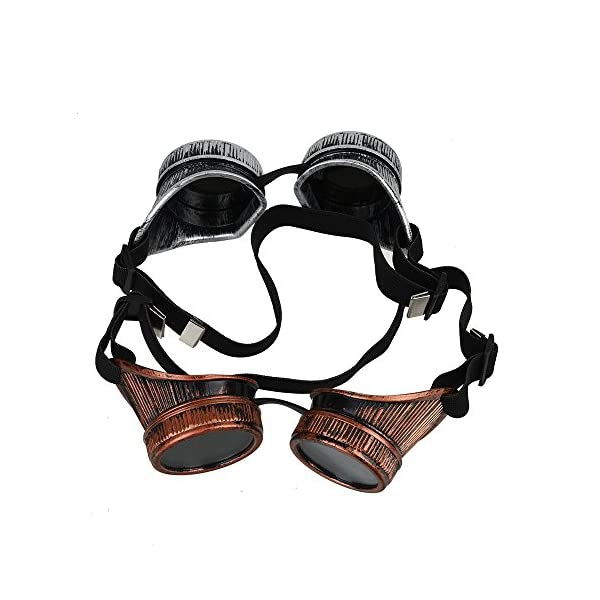 Fontic deals Cyber Punk Gothic Glasses, 2pcs NEW Handcrafted Steampunk Victorian Retro Vintage Welding Goggles Cosplay&Costumes 5