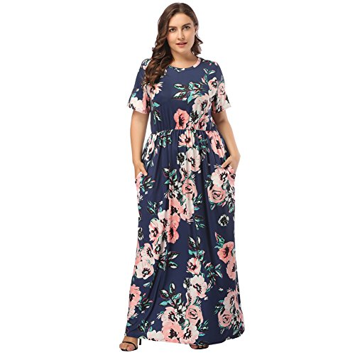 OPSLEA Floral Print Loose Casual Long Dress Round Neck Short Sleeves Maxi Dress with (5x Women Dress)
