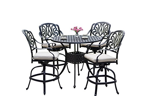 AC HOME & PATIO AC17-5PC-25FCH Lancaster 5 Piece Counter Height Bar Table/Seat Cushion, 42
