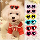 Yagopet 20pcs/pack New Dog Hair Clips Love Design Sunglasses Style Cute Dog Pet Hair Clips Mix Colors and Cute Bowknot Bows Pet Grooming Products Mix Colors Pet Hair Bows Topknot Alloy Clips