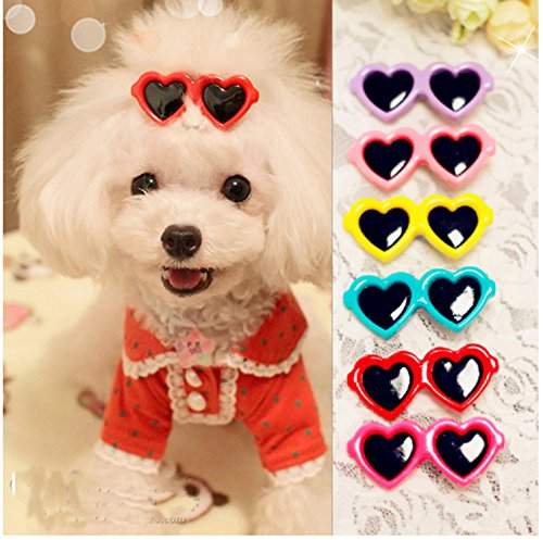 Yagopet 20pcs/pack New Dog Hair Clips Love Design Sunglasses Style Cute Dog Pet Hair Clips Mix Colors and Cute Bowknot Bows Pet Grooming Products Mix Colors Pet Hair Bows Topknot - Sunglasses Dog