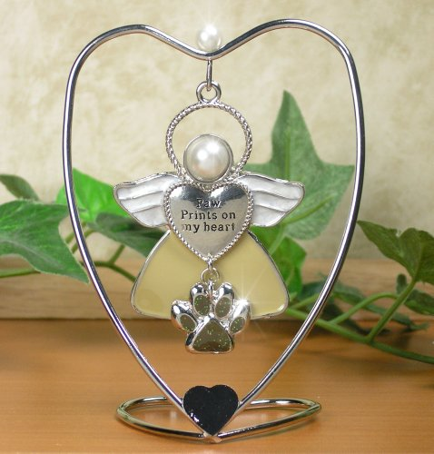 BANBERRY DESIGNS Paw Prints On My Heart Hanging Ornament Angel with Paw Charm and Heart Stand