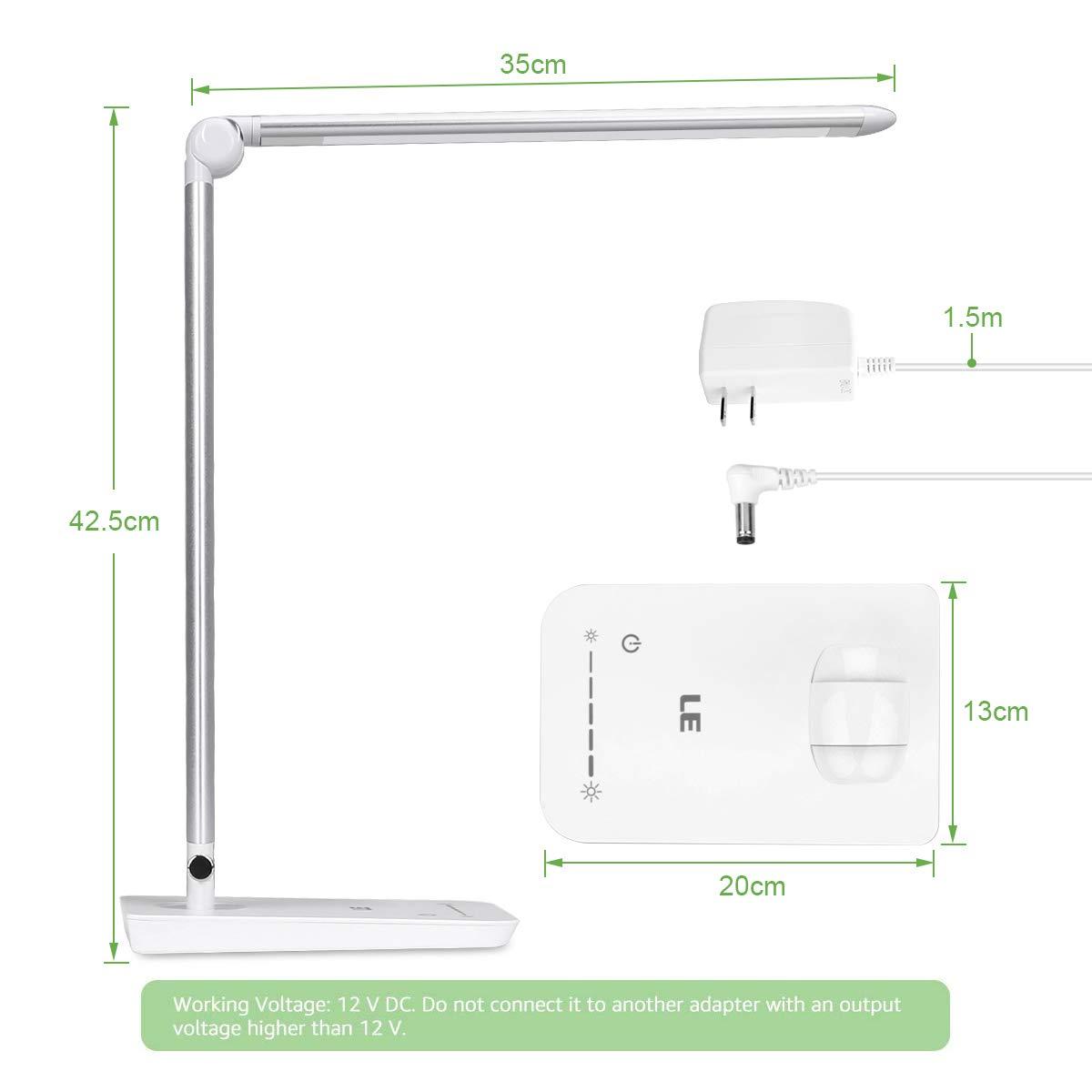 1 Pack Lighting EVER 3100017-DW-US High intensity 7-Level Brightness Adjustable LED Desk Lamp Silver White