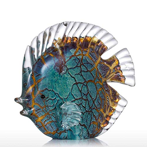 Tooarts Colorful Spotted Tropical Glass Fish Sculpture Home Decoration Ornament - Metal Fish Sculpture