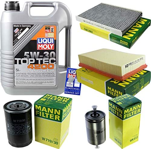 Filter Set Inspektionspaket 5 Liter Liqui Moly Motoröl Top Tec 4200 5w 30 Mann Filter Innenraumfilter Kraftstofffilter Luftfilter Ölfilter Auto