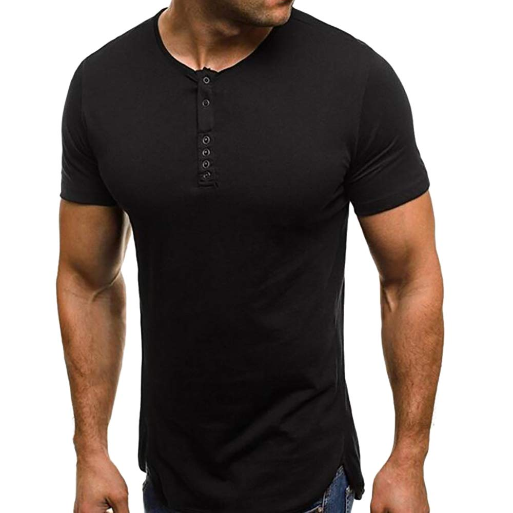 Enjoybuy Mens Henley T Shirt Short Sleeve Cotton Crewneck Casual Workout Tee Tops Slim Fit