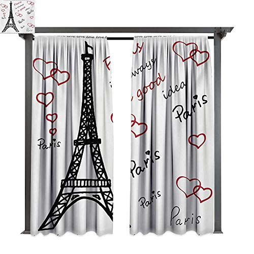 bybyhome Home Patio Outdoor Curtain Eiffel Tower Eiffel Paris is Always a Good Idea Tourism Locations Love Valentines W96 xL84 Suitable for Front Porch,pergola,Cabana,Covered Patio