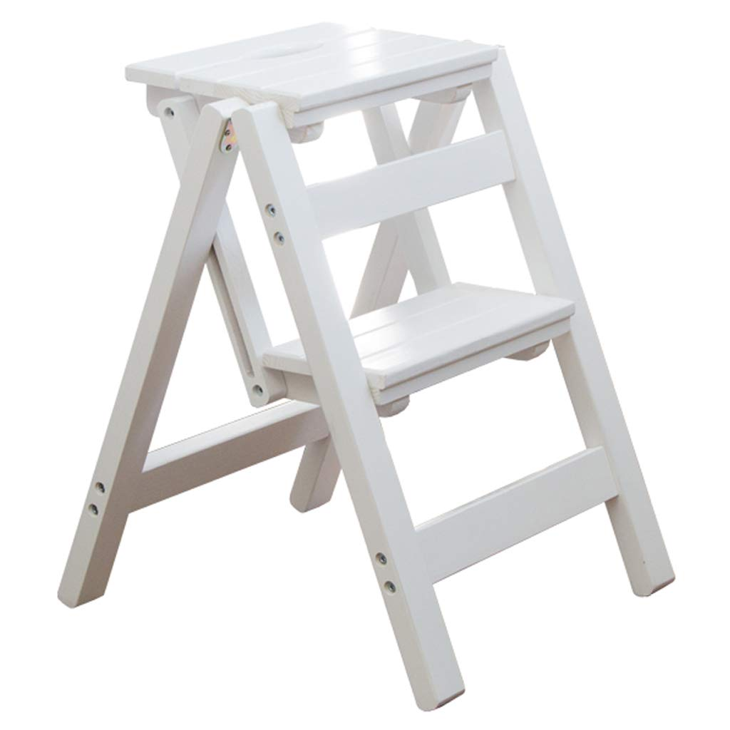Solid Wood Ladder Multifunction Indoor Step Stool Wooden Portable Climb Stair Chair Household Folding 2-Steps ladders (52cm Height) by GYX-Folding stools