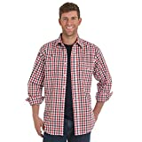 Wrangler Men's Wrinkle Resist Two Pocket Long Sleeve Snap Shirt, Red/Blue Plaid, L