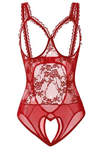 JSMAI Sexy Lingerie for Women - Sexy Lace One-Piece Teddy Bodysuit Nightie Plus Size S-3XL (XL, Wine Red)