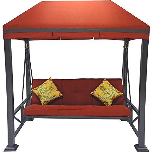 Comfortable Delux Three Person Outdoor Swing with Gazebo, Adds a Classic Touch to Your Backyard, Steel Posts with a Hidden Anchor System, Provides Exceptional Durability, Red + Expert Guide - Hidden Gazebo